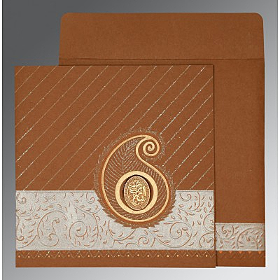 brown matte embossed wedding card ai 1178 - Muslim Wedding Cards