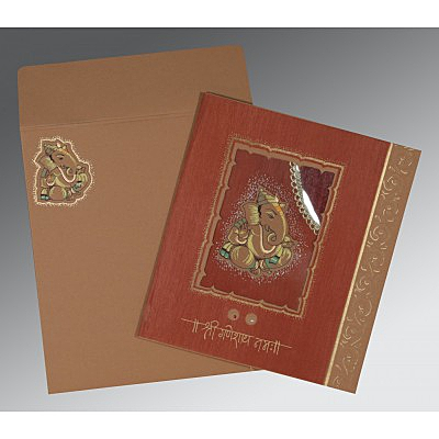 Brown Matte Embossed Wedding Card : AIN-2145