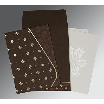 Brown Matte Floral Themed - Foil Stamped Wedding Invitation : ARU-8237L - IndianWeddingCards