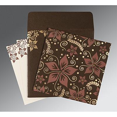 Brown Matte Floral Themed - Screen Printed Wedding Invitation : AC-8240E - IndianWeddingCards