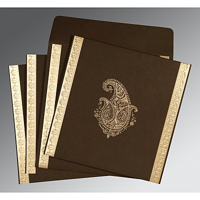 Brown Matte Paisley Themed - Embossed Wedding Invitation : AS-8231D - IndianWeddingCards