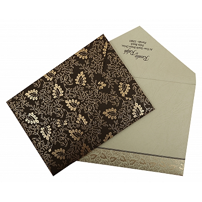 Brown Matte Paisley Themed - Screen Printed Wedding Invitation : AIN-811A