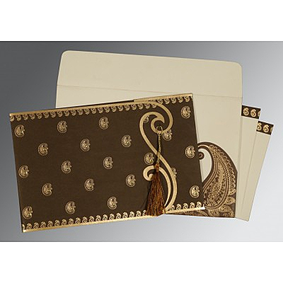 Brown Matte Paisley Themed - Screen Printed Wedding Invitation : AI-8252F - IndianWeddingCards