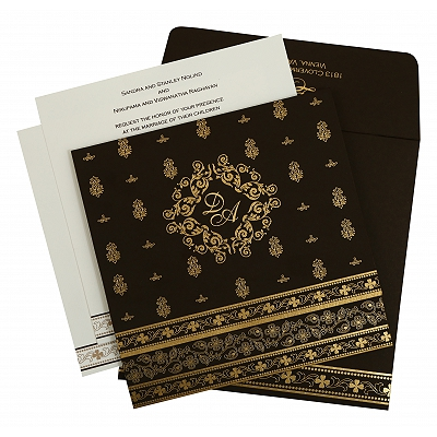 Brown Matte Screen Printed Wedding Invitation : AIN-808B