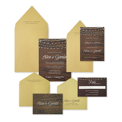 Brown Matte Screen Printed Wedding Invitation : ARUSTIC_STARS