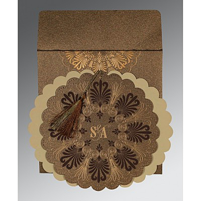Brown Shimmery Floral Themed - Embossed Wedding Card : AI-8238G - IndianWeddingCards