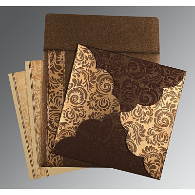 Brown Shimmery Floral Themed - Screen Printed Wedding Card : ARU-8235K - IndianWeddingCards