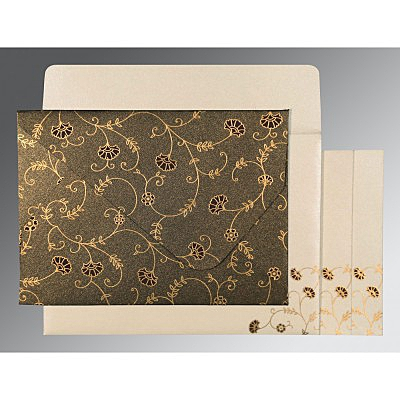 Brown Shimmery Floral Themed - Screen Printed Wedding Invitation : ARU-8248C - IndianWeddingCards