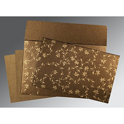 Brown Shimmery Floral Themed - Screen Printed Wedding Invitation : AW-8226N - IndianWeddingCards
