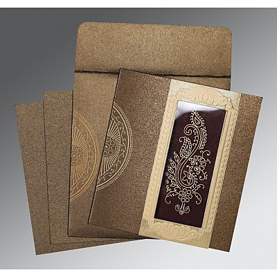 Brown Shimmery Paisley Themed - Foil Stamped Wedding Invitation : AC-8230M - IndianWeddingCards