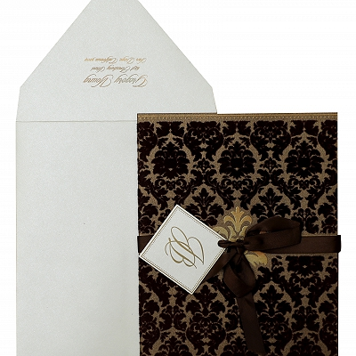 Brown Shimmery Paisley Themed - Screen Printed Wedding Invitation : AW-838
