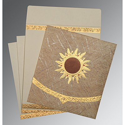 Brown Wooly Embossed Wedding Card : AD-1225 - A2zWeddingCards