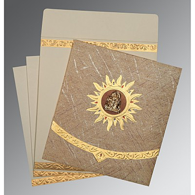 Brown Wooly Embossed Wedding Invitations : AG-1225 - A2zWeddingCards