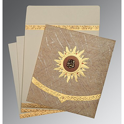 Brown Wooly Embossed Wedding Card : AIN-1225