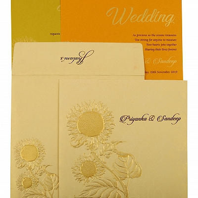 Cream Shimmery Floral Themed - Embossed Wedding Invitation : AIN-1899