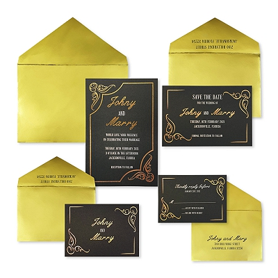 Gold Black Matte Foil Stamped Wedding Invitation : APERIPHERY