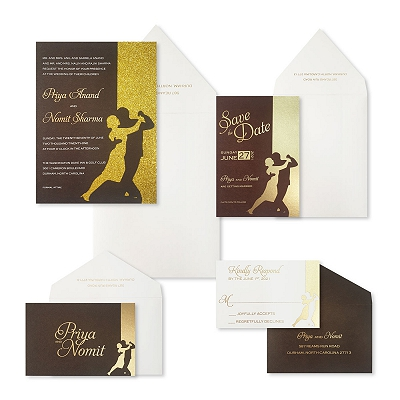 Gold Brown Matte Laser Cut Wedding Invitation : ASHINY_DANCING_STARS