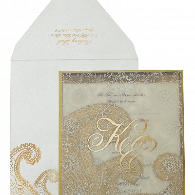 Gold Off White Shimmery Paisley Themed - Screen Printed Wedding Invitation : AIN-829