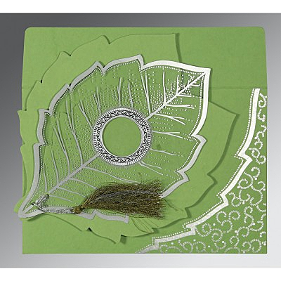 Green Handmade Cotton Floral Themed - Foil Stamped Wedding Card : ARU-8219J - IndianWeddingCards