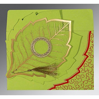 Green Handmade Cotton Floral Themed - Foil Stamped Wedding Card : AW-8219A - IndianWeddingCards