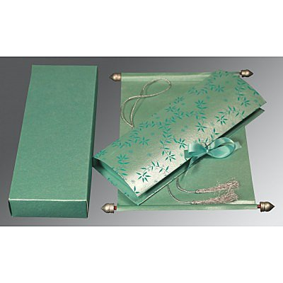 Green Handmade Shimmer Wedding Invitation : ASC-5007L - IndianWeddingCards