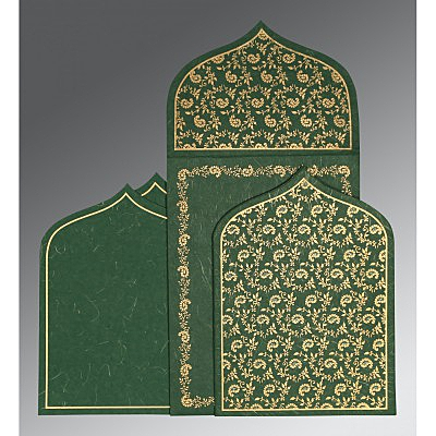 Green Handmade Silk Paisley Themed - Glitter Wedding Invitation : AG-8208L - IndianWeddingCards