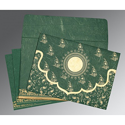 Green Handmade Silk Screen Printed Wedding Invitation : AD-8207L - IndianWeddingCards