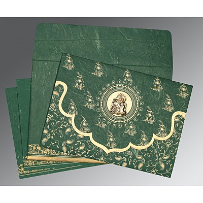 Green Handmade Silk Screen Printed Wedding Invitations : AG-8207L - A2zWeddingCards