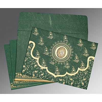 Green Handmade Silk Screen Printed Wedding Invitations : AI-8207L - A2zWeddingCards