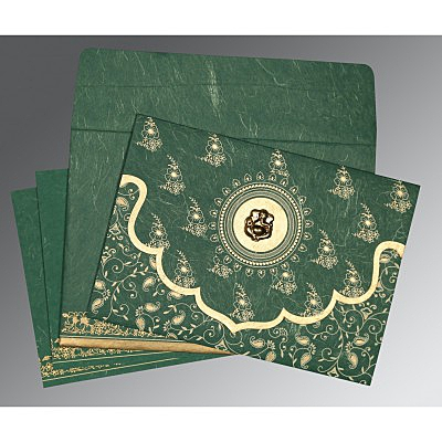 Green Handmade Silk Screen Printed Wedding Invitations : AIN-8207L - A2zWeddingCards