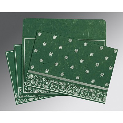 Green Handmade Silk Screen Printed Wedding Card : ASO-8215E - IndianWeddingCards