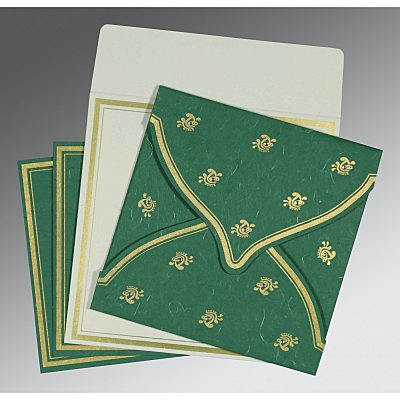 Green Handmade Silk Unique Themed - Screen Printed Wedding Card : ARU-8203D - IndianWeddingCards