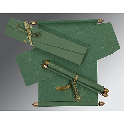 Green Handmade Silk Wedding Card : ASC-5001D - IndianWeddingCards