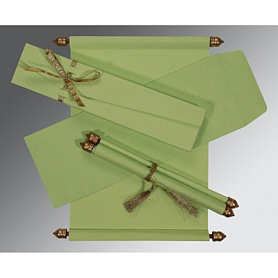 Green Handmade Silk Wedding Card : ASC-5001L - IndianWeddingCards
