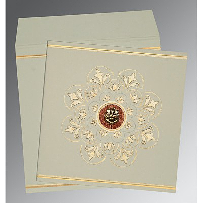 Green Matte Box Themed - Embossed Wedding Card : AIN-1190