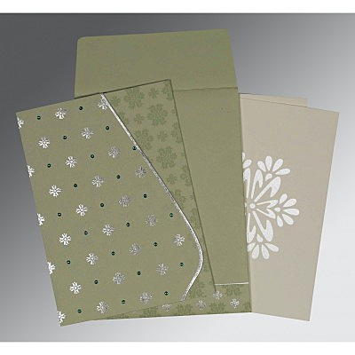 Green Matte Floral Themed - Foil Stamped Wedding Invitation : AI-8237I - IndianWeddingCards