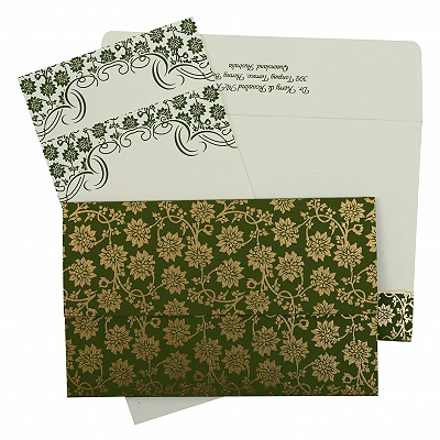Green Matte Floral Themed - Screen Printed Wedding Invitation : AIN-810D