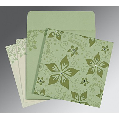 Green Matte Floral Themed - Screen Printed Wedding Invitation : AI-8240I - A2zWeddingCards