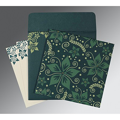 Green Matte Floral Themed - Screen Printed Wedding Invitation : AI-8240N - A2zWeddingCards