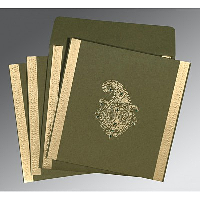 Green Matte Paisley Themed - Embossed Wedding Invitation : AC-8231B - IndianWeddingCards