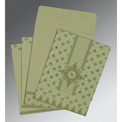 Green Matte Screen Printed Wedding Invitation : ASO-8247L - IndianWeddingCards