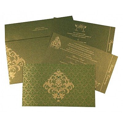 Green Shimmery Damask Themed - Screen Printed Wedding Card : AC-8257A - IndianWeddingCards
