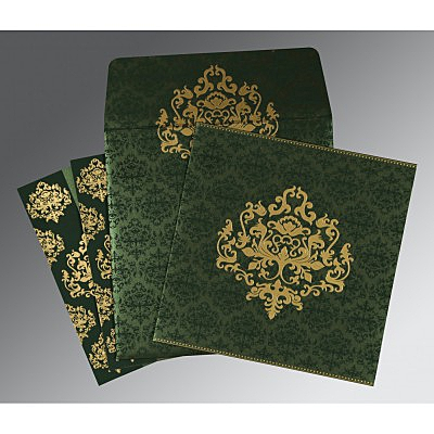 Green Shimmery Damask Themed - Screen Printed Wedding Card : AD-8254D - IndianWeddingCards
