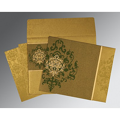 Green Shimmery Damask Themed - Screen Printed Wedding Card : AI-8253C - IndianWeddingCards