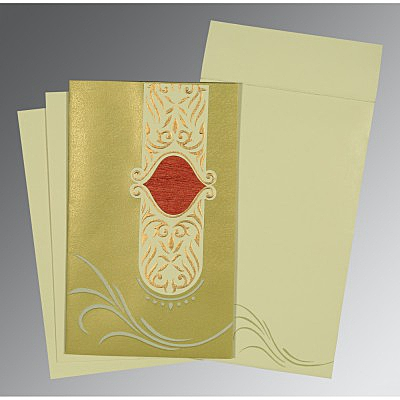 Green Shimmery Embossed Wedding Card : AD-1317 - A2zWeddingCards