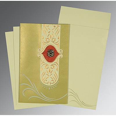 Green Shimmery Embossed Wedding Card : AIN-1317