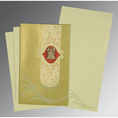 Green Shimmery Embossed Wedding Card : ASO-1317