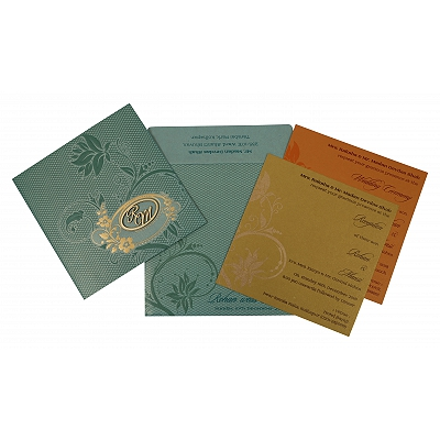 Green Shimmery Floral Themed - Foil Stamped Wedding Invitations : AI-1773 - A2zWeddingCards