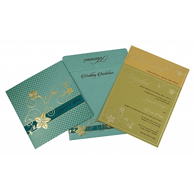 Green Shimmery Floral Themed - Foil Stamped Wedding Invitation : ARU-1790 - A2zWeddingCards