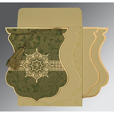 Green Shimmery Floral Themed - Screen Printed Wedding Card : AIN-8229P